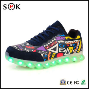 Sek Lightup Adult Flashing Simulation Mens LED Light up Shoes with Laces pictures & photos