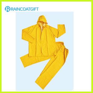 2PCS Yellow PVC Polyester PVC Rainsuit pictures & photos