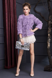 Women′s Winter Warm Rabbit Fur Coat with Three Quarter Sleeve pictures & photos
