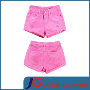 China Women Hot Pink Denim Shorts (JC6059) - China Pink Shorts ...