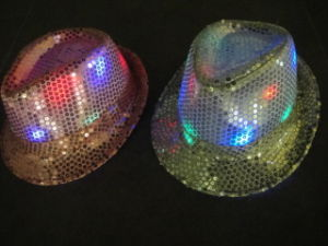 LED Headwear, Headwear, 10 LED Fedora Hat (silver/pink) (919A)
