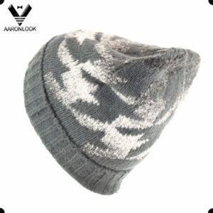 Fashion Houndstooth Custom Jacquard Wool Knit Scarf Hat pictures & photos