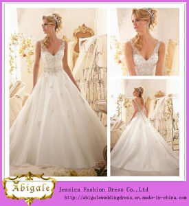 2014 Latest Designs Elegant Ivory A Line V Neck V Back Beaded Bodice Appliqued Organza Bridal Dress Maxi Dress (MN1476)