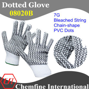 7g Bleached Polyester/Cotton Knitted Glove with 2-Side Black Chain-Shape PVC Dots pictures & photos