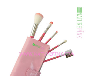 Pink Color 5PCS Makeup Brush Set with Pink Cosmetic Case