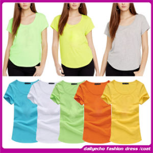 2015 New Arrival Fashion Design Unique Neck Loose Summer Casual T-Shirt for Woman (C-146)