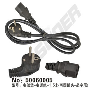 Rice Cooker Power Cord 1.5m (two round plugs + products suffix) Rice Cooker Power Line (50060005) pictures & photos