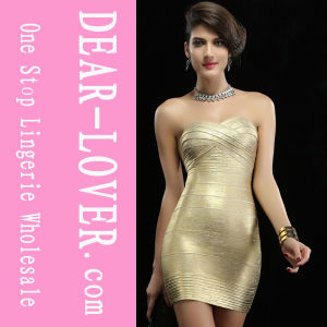 Hot Metallic Gold Sexy off-The-Shoulder Tube Evening Dress pictures & photos