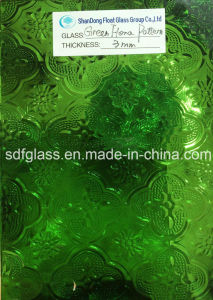 Tinted Green Flora Patterned Glass