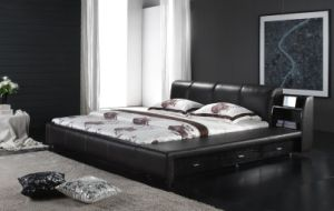 2012 Italy Genuine Leather Soft Bed (6070) pictures & photos