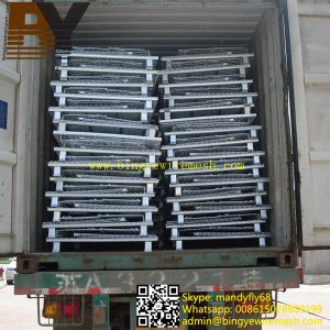 Foldable Stackable Wire Mesh Container for Warehouse Storage pictures & photos
