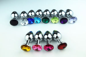 Small Size Metal Anal Plug 12 Colors Silver Jeweled Butt Plug pictures & photos