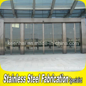 Golden Luxury Exterior Metal Stainless Steel Sliding Security Glass Entry Door pictures & photos