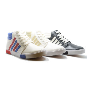 Slanted Bar Classical Casual Student Men High Top Rubber Shoes pictures & photos