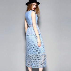 Blue Water Solution Hole Hollow out Sleeveless Women MIDI Dress pictures & photos
