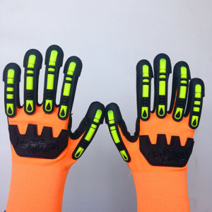 Sandy Nitrile Nylon/Lycra Safety Gloves with TPR&Sponges Sewing pictures & photos