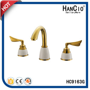 Sanitary Ware Double Handle Three Holes Basin Faucet (HC9163G)