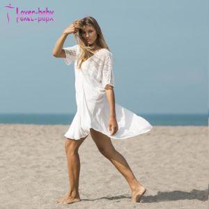 2018 New Design V-Neck Short Sleeve Beach Wrap Dress pictures & photos