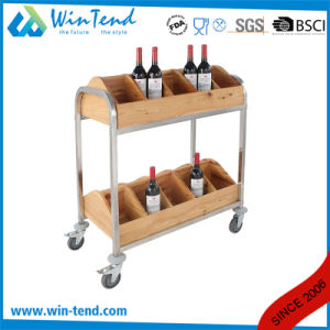 2018 Separated Style Wooden Wine Storage Rack Cart with 2-Tiers pictures & photos