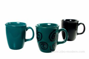 GS2005-Black Glazed Mug with Simple Color Imprinting or Black Only