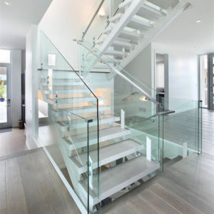 Foshan Prefabricated Stairs Glass Wood Floating Stairs Straight Stairway pictures & photos