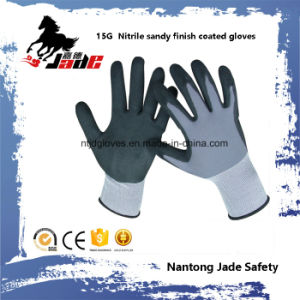 15g Nylon Palm Nitrile Sandy Finish Coated Glove pictures & photos