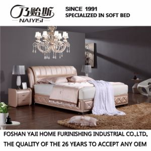 Baby Pink Color Leather Bed for Bedroom Use (FB2103) pictures & photos