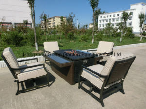 Patio Conversation Set Sofa with Rattan Fire Pit Table pictures & photos
