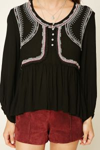 Embroidery Long Sleeve Women Blouse pictures & photos