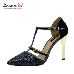 Lady High Heels Pumps Women Glitter Patchwork Leather Dress Shoes pictures & photos