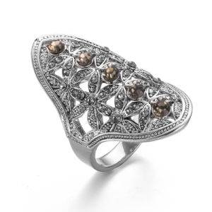 VAGULA 2017 New Style Silver Plated Coffee CZ Rhinestone Ring pictures & photos