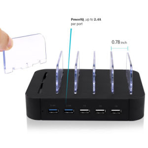 5 Slots Charging Station 5 USB Ports Charger for Tablet Mobile Phone pictures & photos
