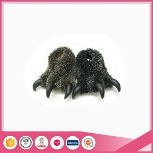 Dark Grey Fake Fur Adult Paw Slippers pictures & photos