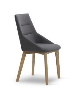 Dining Chair Fabric Covered Seat and Wood Legs