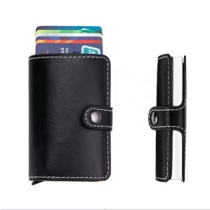 Stock Mini Wallet Genuine Leather RFID Business Cardholder Automatic Pop-up Card Case pictures & photos