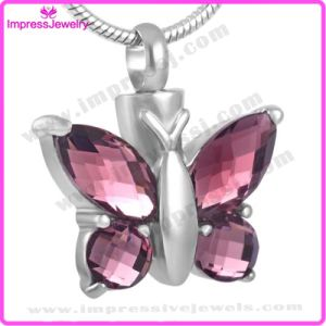 Wholesale Butterfly Glass Pet Memorial Stainless Steel Pendant Necklace Cremation Jewelry pictures & photos