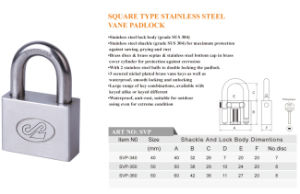 Waterproof Square Type Stainless Steel Padlock with Computer Key pictures & photos