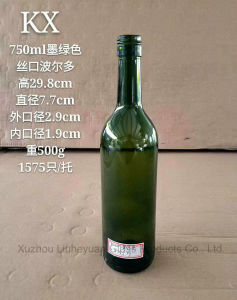 750ml Grade Food Grade, Threaded Port, Olive Green (brown) , Dark Green, Emerald Green Bordeaux Red Wine Bottle pictures & photos