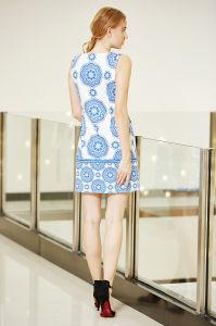 Sleeveless Round Neck Digital Border Printing Tunic Dress pictures & photos