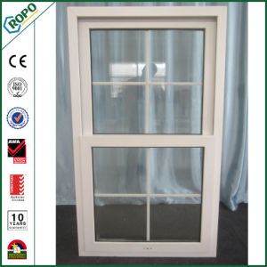 UPVC Double Sash Single Hung Glass Windows with Grills Inside Design pictures & photos