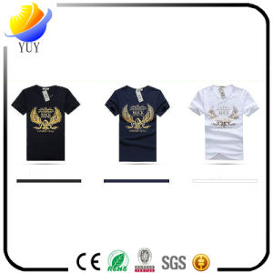 Men Slim Fit Round Neck Printed Cotton Short Sleeve T-Shirt pictures & photos