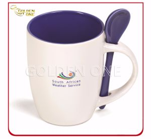 Customized Full Color Printed Porcelain Mug with Spoon pictures & photos