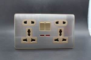 2 Gang Double 5 in Wall Switched Socket European Style pictures & photos