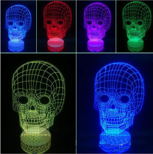 3D Human Skull Lamp LED Light Desk Man Cave Halloween Gift Night Light Ghost pictures & photos