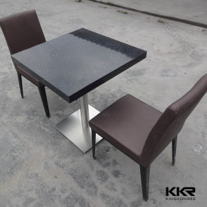 Black Square 2 Seater Solid Surface Coffee Table Set pictures & photos