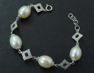 925 Silver Jewelry + Freshwater Pear Bracelet (WSTPA00662)