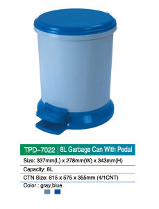 8L Garbage Can with Pedal in Plastic Material pictures & photos