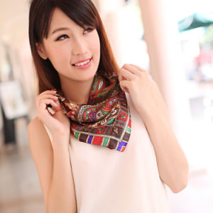 Digital Printed Silk Polyester Scarf (12-BR050320-6.9) pictures & photos