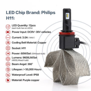 H11 30W 6000k Philips LED Headlights Convertion Kit for Cars pictures & photos
