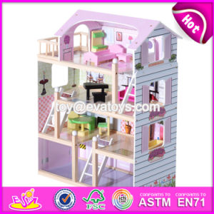 Best Luxurious 4 Floors Children Wooden Dollhouse Kits with Garage W06A238 pictures & photos